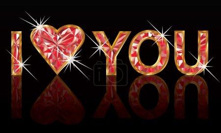 I love you, diamond ruby banner. vector illustration