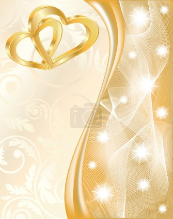 Illustration for Wedding card with two golden hearts, vector illustration - Royalty Free Image