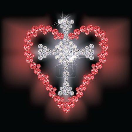 Diamond cross religious and ruby heart, vector