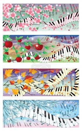 Illustration pour Symphonie de bannières quatre saisons, illustration vectorielle - image libre de droit