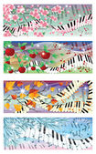 Symphony of four season banners vector illustration