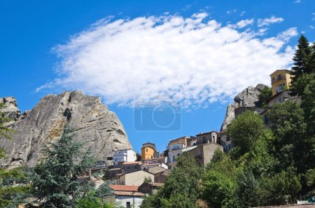 Panoramic view of Pietrapertosa. Basilicata. Italy.