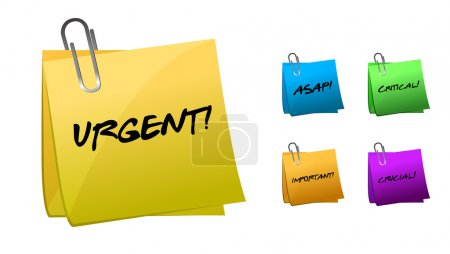 Urgent messages on post-it notes illustration design