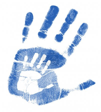 Father and son handprints illustration design over white