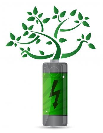 Photo pour Arbre croissant à partir de la conception de la batterie illustration - image libre de droit