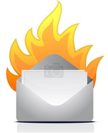 Photo pour Enveloppe lettre sur le feu illustration conception sur blanc - image libre de droit