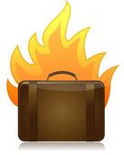 Zavazadla na ohni ilustrace design na bílém pozadí