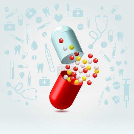 Illustration for Red and transparent capsule suddenly opened in lighted space on a medical icons background illustration - Royalty Free Image