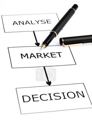 Market scheme and pen on white