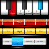 Editable website vector buttons wth glossy and metallic effects and piano keys