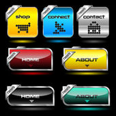 Editable website vector buttons wth glossy and metallic effects