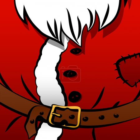 Illustration for Christmas background of Santa's coat with belt, fur and white bear - Royalty Free Image