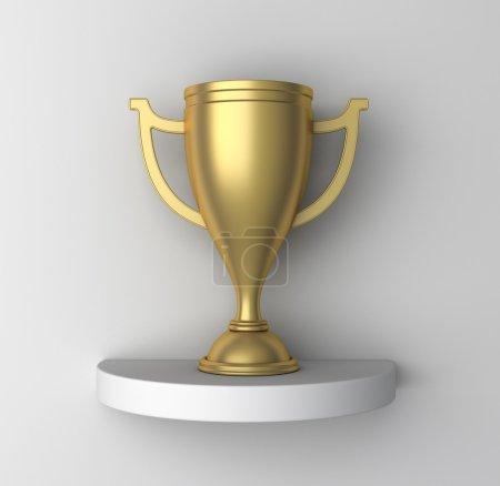 Golden Cup on a shelf, 3d render