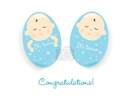Illustration for Illustration of sleeping twin boys isolated over white - Royalty Free Image