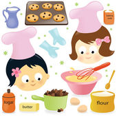 Illustration of two girls baking chocolate chip cookies
