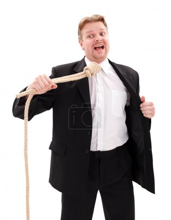 Photo for Desperate businessman with gallow rope in neck - Royalty Free Image