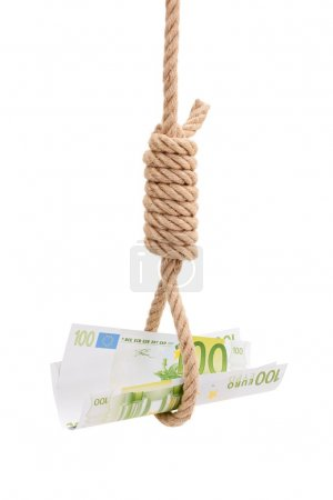 Photo for Money in gallows rope isolated on white backgroud. Conceptual wiew of financial crisis - Royalty Free Image