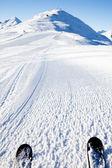 View on empty fresh-made ski slope