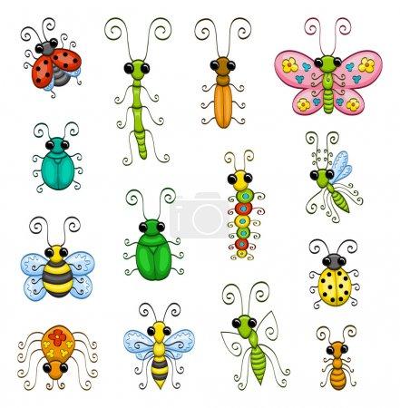 Illustration pour Quelques insectes de dessin animé (une fourmi, un insecte bâton, un papillon, une abeille, une araignée, une guêpe, une mante, une chenille, un moucheron, des coccinelles et des insectes ). - image libre de droit