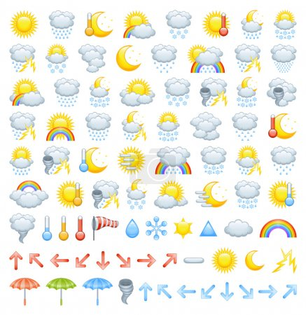 Illustration for The collection of different weather icons, arrows for wind direction and weather icon parts to create Your own icons. - Royalty Free Image