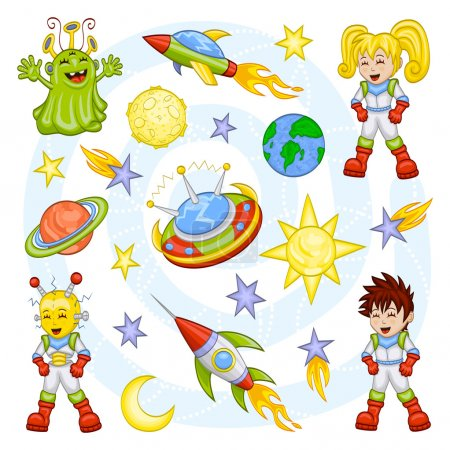 Illustration for An illustration of cartoon children and their fantasy world: an alien, a robot, spaceships, planets, stars, comets, the sun and the moon. - Royalty Free Image