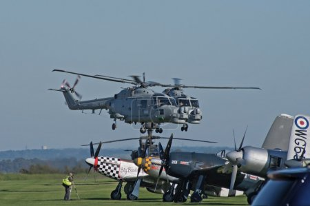 Westland Lynx helicopters take off in formation