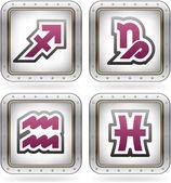 Zodiac/Astrology Symbols Icons Set (part of the 2 Colors Chrome Icons Set)