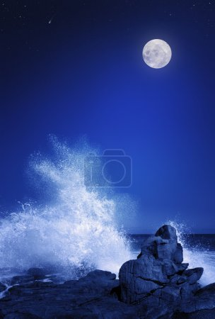 Moon and Seascape at night