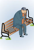 Vector illustration of old man sitting on a bench and playing chess