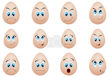 Illustration for Vector greeting card with cute funny eggs, dedicated to Happy Easter - Royalty Free Image