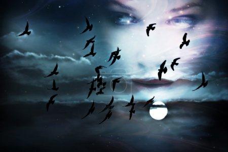 Photo pour Ciel, les oiseaux, pleine lune et visage de femme, composée de deux images - image libre de droit