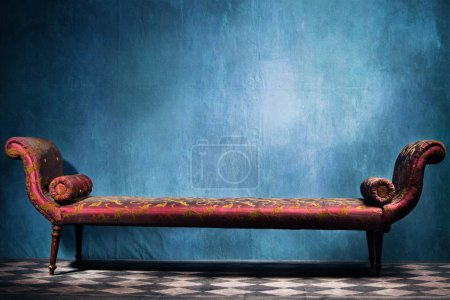 Photo for Elegant long recamie in blue room with tiled floor - Royalty Free Image