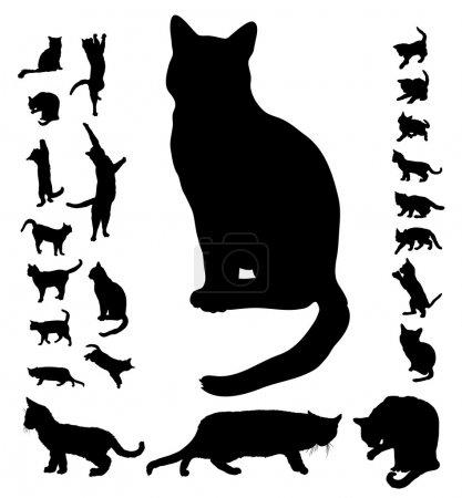 Illustration pour Collection de silhouettes de chat, vector - image libre de droit
