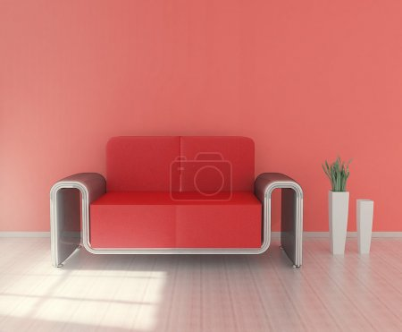 Modern sofa with plant