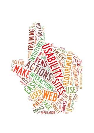 Photo pour Nuage de mots Illustration de la facilité d'emploi du Web sur blanc - image libre de droit