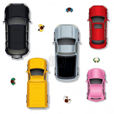Illustration for Set 1. Various Abstract Isolated Vector Cars, Top View Position - Royalty Free Image
