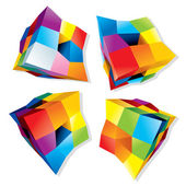 Set of Abstract Colorful Cubes 3D Vector Design Elements or Logos