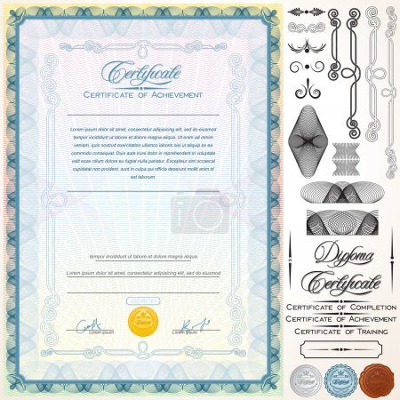 Illustration for Diploma or Certificate Template. Customizable Design Elements, Titles and Patterns - Royalty Free Image