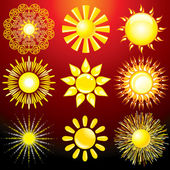 Set of Decorative Sun Vector Design Elements