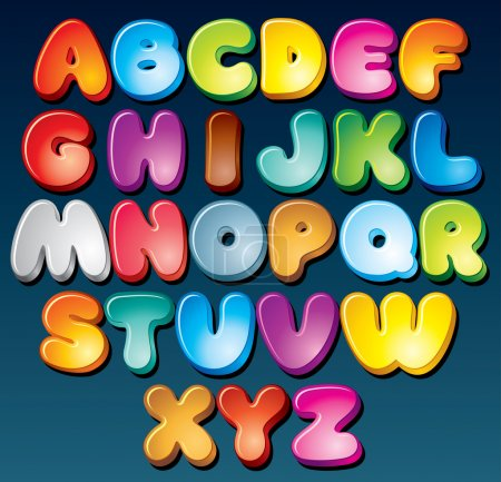 Illustration for Multicolored Cartoon Vector Font, Set of Isolated Symbols for your Design - Royalty Free Image