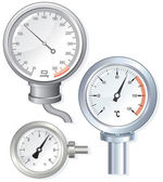 Vector devices faces: manometer thermometer pressure gauge meter
