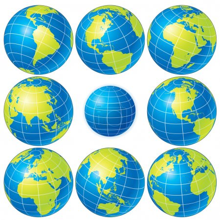 Illustration for Set of detailed vector globes showing earth with all continents - Royalty Free Image