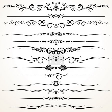 Illustration for Collection of Ornamental Rule Lines in Different Design styles - Royalty Free Image