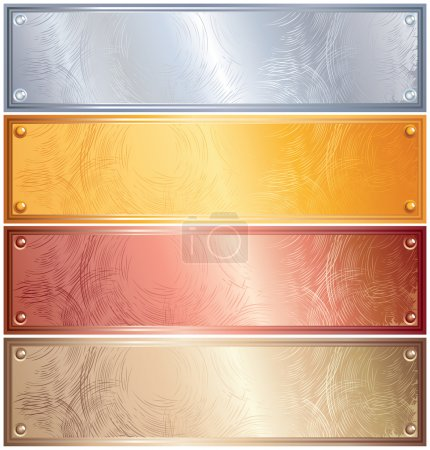 Illustration for Various vector metallic plates with rivets, golden, silver, bronze, copper - Royalty Free Image