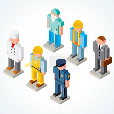 Illustration for Occupations, isometric vector icons of chef, policeman, surgeon, builder, businessman and engineer - Royalty Free Image