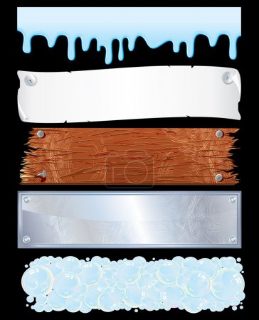 Illustration for Assorted template for banners-various surfaces: liquid, wooden, metallic, paper... - Royalty Free Image