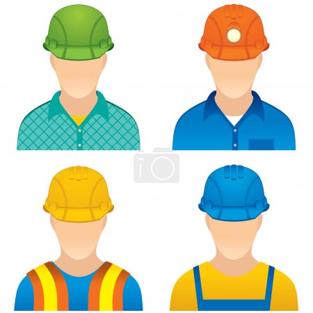 Illustration for Various Worker icons: home worker, road builder, construction worker and miner dummy - Royalty Free Image