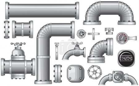 Illustration for Vector Collection of Pipe and Pipeline Isolated Construction Pieces, Pipes Elements , Valve, Faucet, vector no gradients,no meshes used - Royalty Free Image