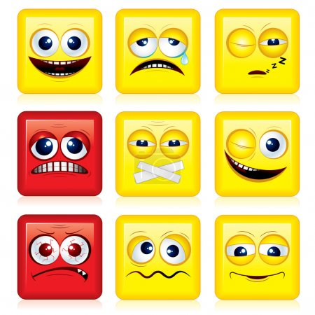 Illustration for Square shaped yellow Smileys, vector icon set - Royalty Free Image