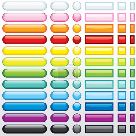 Illustration for Multicolored shine buttons for your web design - Royalty Free Image